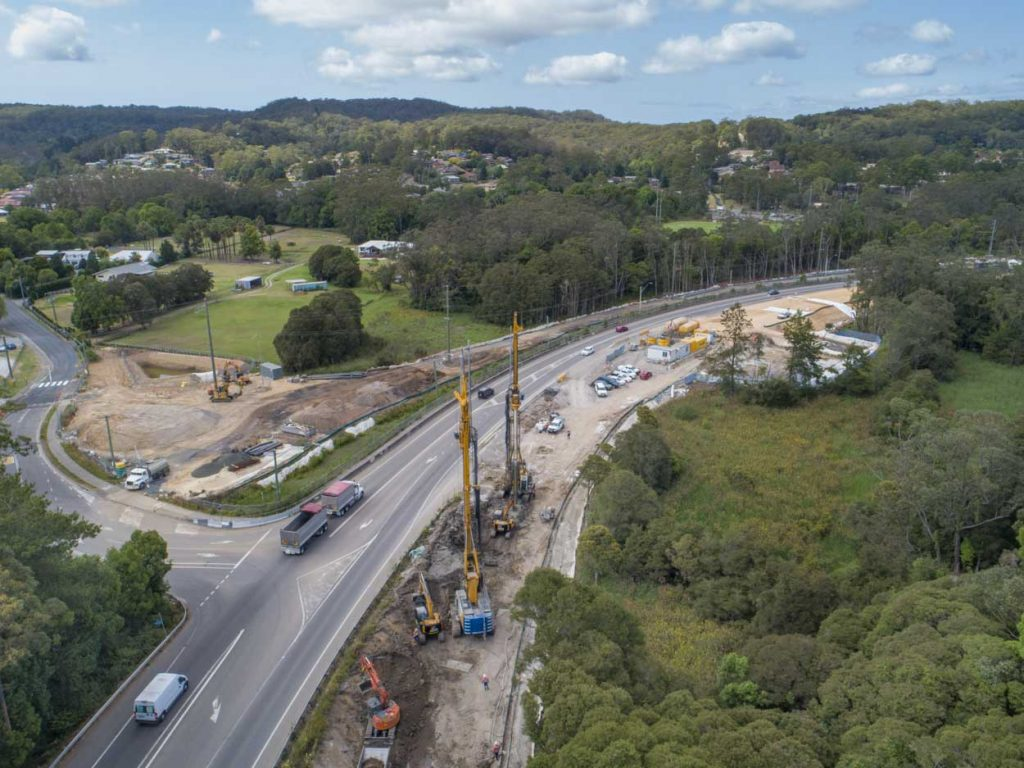 A drone shot of the construction of the Lisarow bridge